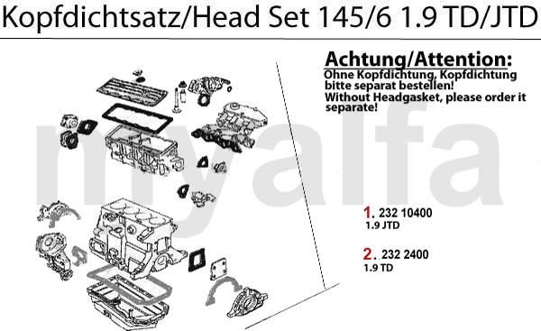 pochette haut moteur 145/6 TD/JT