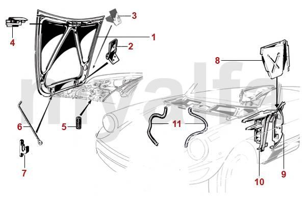 alfa romeo capot et compartiment moteur