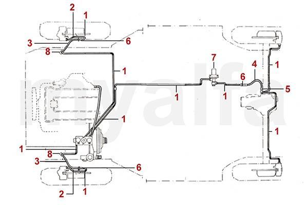 alfa romeo spider  105  115  brake hydraulic brake lines  hoses