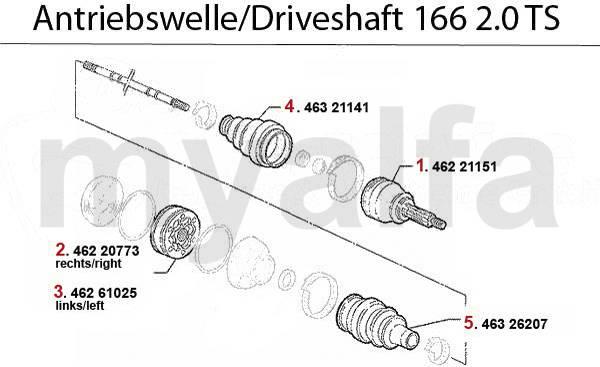 Alfa Romeo GTV 2.0 16V TS  New inner driveshaft cv boot kit