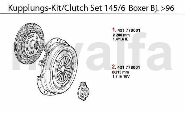 kit embrayage1.4/1.6/1.7 IE/16V