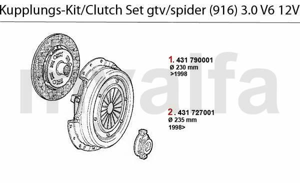 kit embrayage 3.0 V6 12V