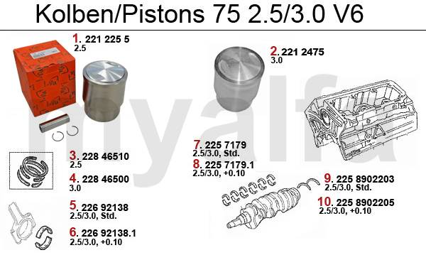 Pistons/coussinets V6