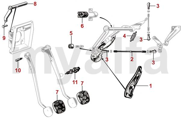 alfa romeo giulia pedal rubber  accelerator pedal