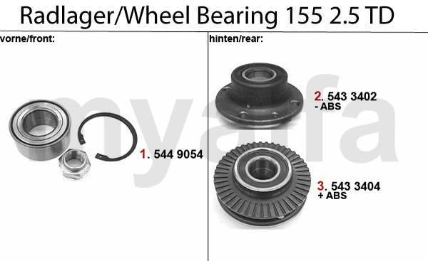 roulements de roue 2.5 TD