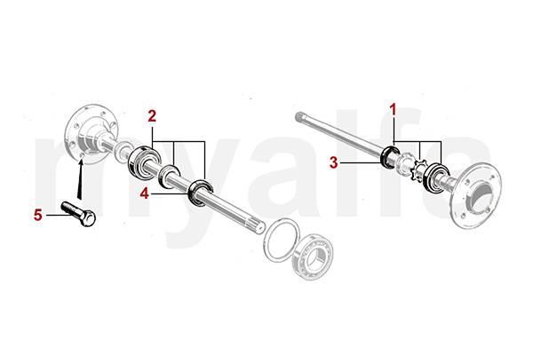 Roulements/goujons de roue