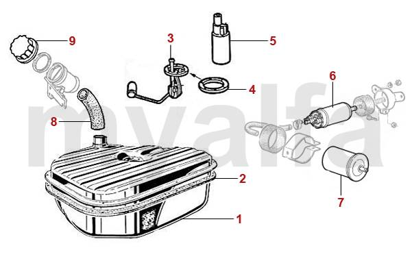 alfa romeo spider  105  115  versions injection r u00e9servoir d u0026 39 essence  pompes et jauge  u00e0 essence